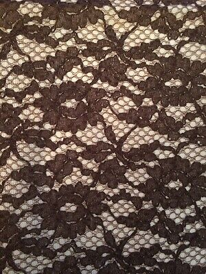 Vtg Lace Brown Fabric Panel Drape Material Shabby Country 3 Yards Floral