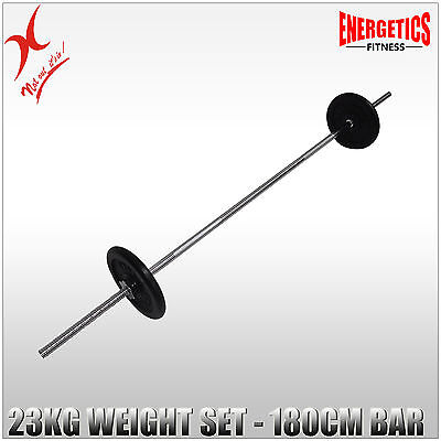 23Kg  Energetics Barbell Weights Set - 180Cm Bar + 15Kg Weight Plates