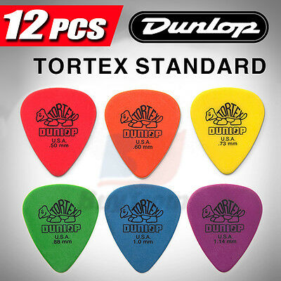 12 X New Jim Dunlop Tortex Standard MIXED Guitar Picks Starter Set Beginners AU