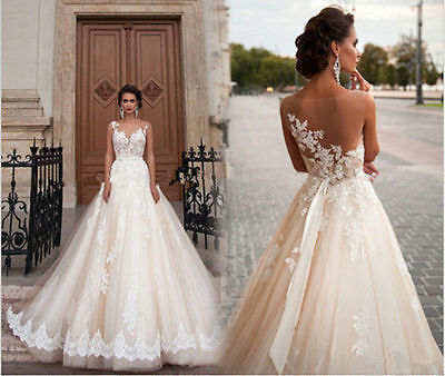 Sweetheart Lace&tulle A-line Wedding dresses Custom Bridal Gowns plus size ivory