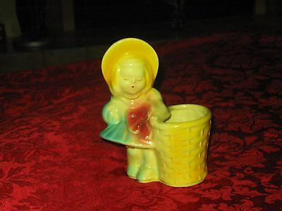 Vintage Shawnee Pottery Girl With Basket planter