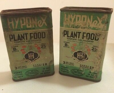 Vintage Hyponex Plant Food 3oz Cans - Two - Partially Full