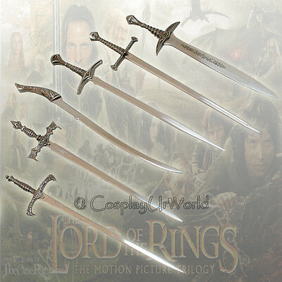 LOTR Lord of the Rings Letter Opener Miniature Swords Blades - Set 6pcs w Stand