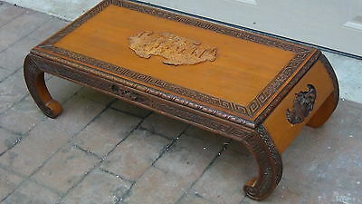 ANTIQUE 19c CHINESE CAMPHOR WOOD HAND CARVED KANG LOW COFFEE ,TEA TABLE