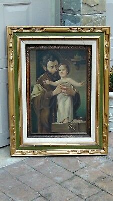ANTIQUE 19c ITALIAN OIL ON CANVAS PAINTING  OF St.JOSEPH AND JESUS