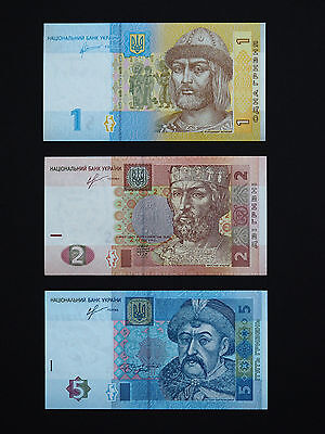 Ukraine Banknotes Set Of  3  Hryvnia Notes  -  Top Colour Notes In Mint Unc