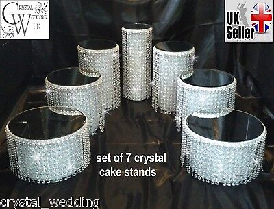 Set of 7 tiered ascending style wedding cake stands   Premium Austrian crystals