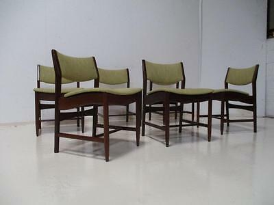 6 Retro Danish Dining Chairs 1960's Mid Century Modern Rosewood New upholstery