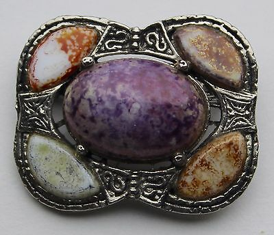 Vintage Scottish Agate Brooch Pin Silver Plated by Weiner