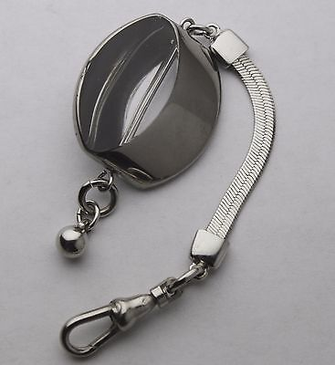 Short Pocket Watch Fob Chain Silver Plated Herringbone Mid-Century Modern