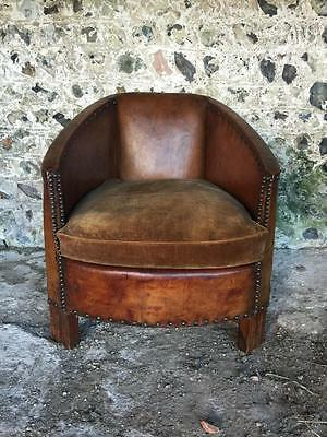 Compact Antique French Chestnut Leather Aviator Club Arm Chair C1930 Vintage