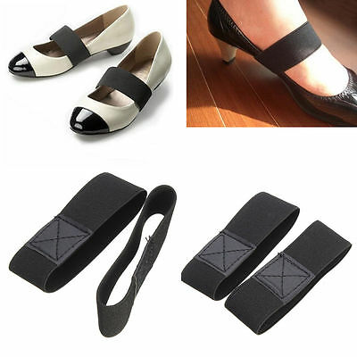 2 X PAIRS Elastic Shoe Strap Lace Band For Holding Loose High Heeled Shoes Black
