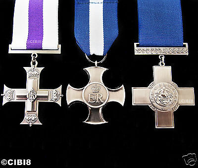 Beautiful George Cross Military Medal Set Of 3 For Gallantry & Heroism Repro