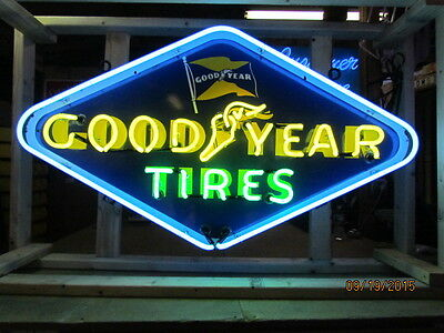 "Old ""Goodyear Tires"" Porcelain Sign with Neon 72""W x 60""H  - SSPN"