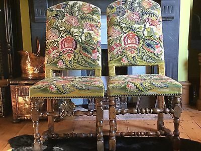 Pair Of Tapestry Antique Hall Or Dining Chairs - Vintage