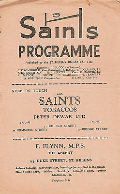 St Helens v Wigan 4 Apr 1958 RUGBY LEAGUE PROGRAMME