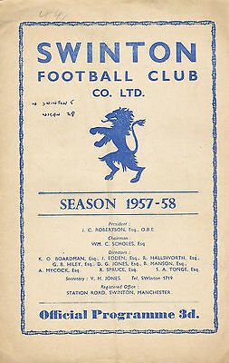 Swinton v Wigan 17 Aug 1957 RUGBY LEAGUE PROGRAMME