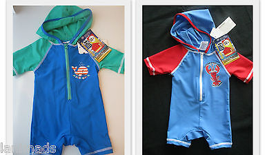HOODED Whale Crab Swimsuit Boys Bathers UPF 50+ SIZE 000, 00, 0, 1 **FREE POST**