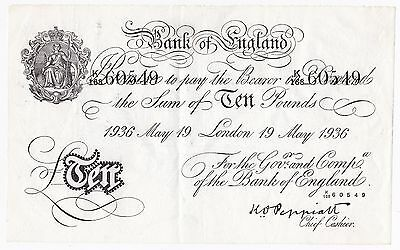 Bank of England £10 (Operation Bernhard) German WWII forgery - EF.