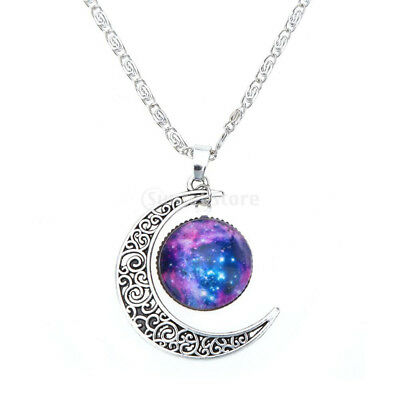 Glass Hollow Moon Crescent Pendant Silver Chain Necklace Jewelry