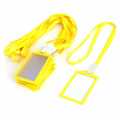 Office Plastic Vertical Name Tag ID Card Holder Yellow Clear 10 Pcs w String