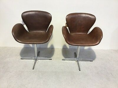 Pair Of Brown Leather Swivel Designer Chair Office Chair Aviation Design