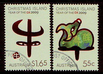 Christmas Island 2009 Year Of The Ox Pair Of Stamps Fine Used