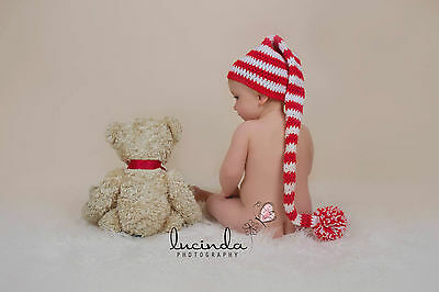 Red White Newborn Crochet Knit Extra Long Baby Elf Hat Christmas Photo Prop