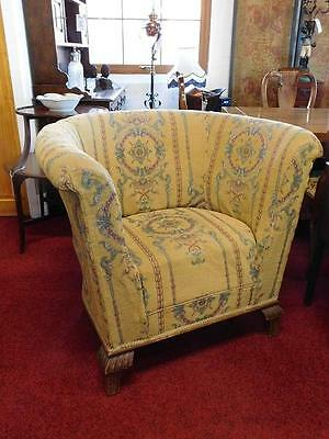 A Good Oversized Vintage Tub Armchair Ideal For Re-Upholstery