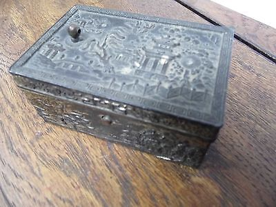 Antique metal Japanese longevity box / Trinket box , with lid and push catch
