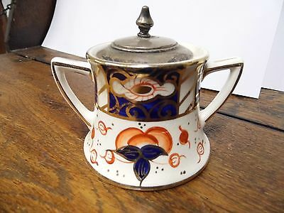 Antique Lancaster condiment / mustard pot with hallmarked silver lid 1907