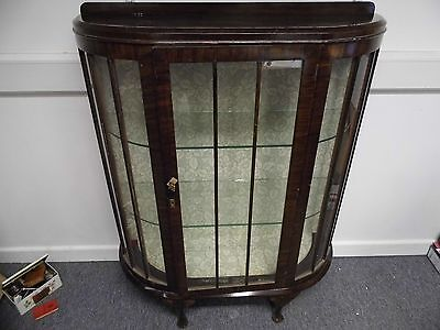 Vintage Glass curved front Display cabinet with lock & Key Shabby Chic ?