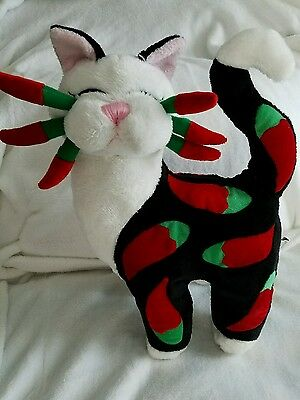 """Chili Pepper Cat Kitten Animal  Stuffed Toy Whimsy Clay Plush Amy Lacombe 10"""""""