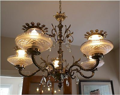 Antique Brass Chandelier Heavy Ornate Glass Globes & Crystal Prisms