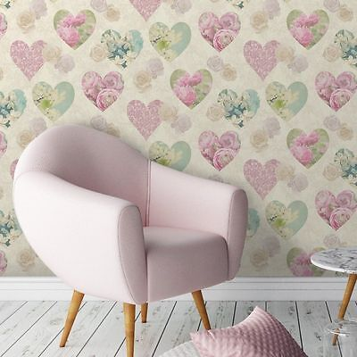 Novelty Shabby Chic Pink Cream Teal Floral Hearts Love Feature Wallpaper FD41912