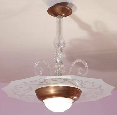 Lustrous Vintage French Modernist Copper and Glass Chandelier