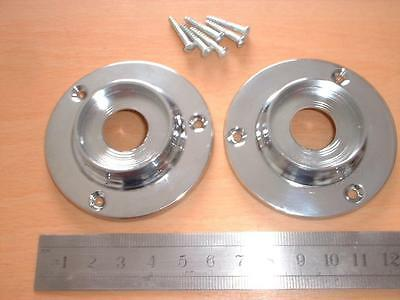 2 HEAVY PLAIN CHROME DOOR KNOB BACK PLATES 64 mm SUIT RIM LOCK DOOR KNOBS ETC.