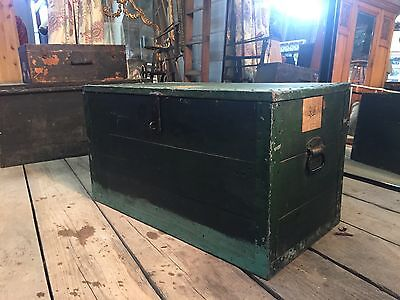 Solid Wood Green Military Steamer Trunk Box ideal Toy Shoe Storage