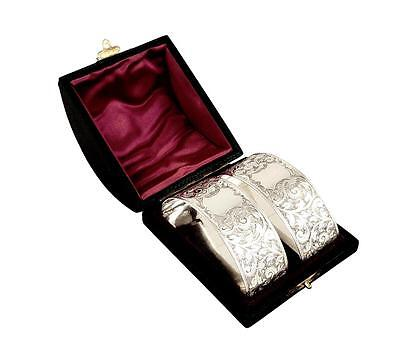 Pair Antique Victorian Solid Sterling Silver Napkin Rings In Box - 1895