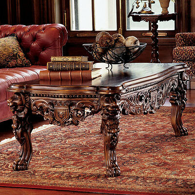 Mahogany Hand Carved Table European Medieval Lion Decor Solid Wood Furniture
