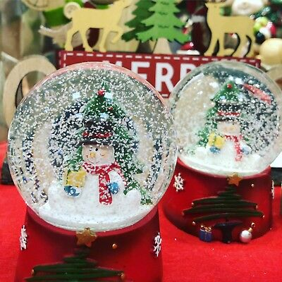 Christmas Snowman Snow globe ~ Glass Waterball with Snowman & Xmas Tree 4174