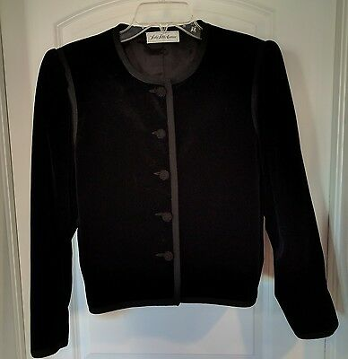 Vintage Saks Fifth Avenue Dressy Black Jacket 100% Cotton Velvet Blazer Size 14