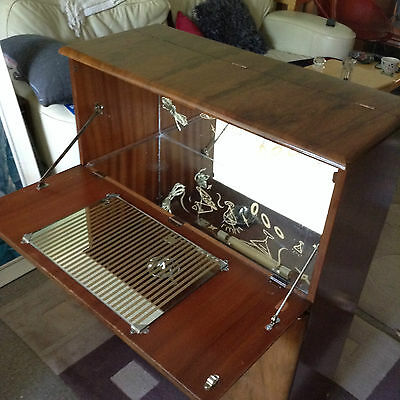 Art Deco Walnut Cocktail Cabinet 1950s Beautility Mirrored interior