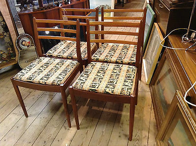 G Plan Fresco Set 4  Dining Chairs 1970s Teak Recovered