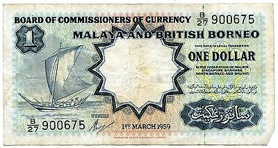 1959 Malaya Board of Commissioners $1 Dollar Note P8a