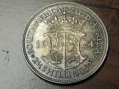 1924 Zuid Africa 2 1/2 Shilling 14 Gr 800 Fine Silver Coin KM# 19.1 Nice Details