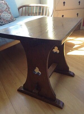 Solid Oak Arts And Crafts/ Gothic Style Harmonium/organ Stool- Or Coffee Table