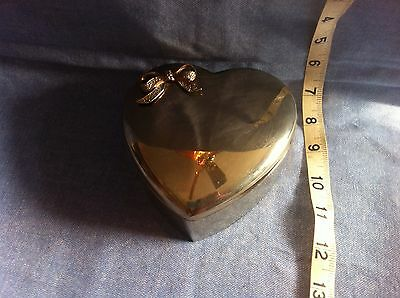 Silver Tone Metal Heart Shaped Trinket Gift Jewelry Box Red Velvet Lined