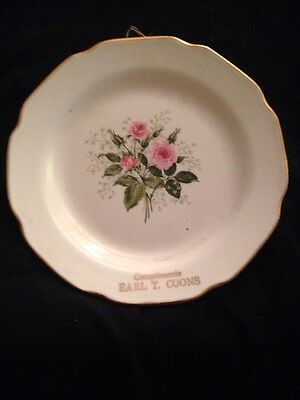 Vintage Rose Plate, Advertising Premium from Earl T. Coons