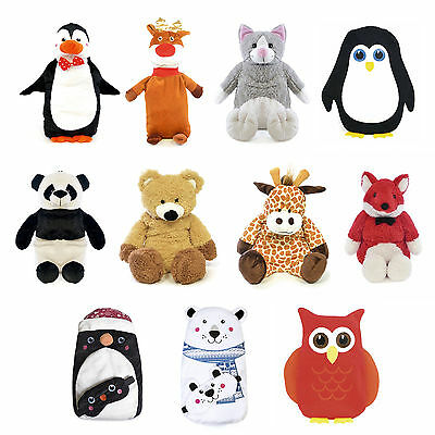 750ML Hot Water Bottles Cute Animal 3D Plush Cover Kids Fluffy Warm Winter Gift